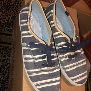 Keds blue and white striped sneakers